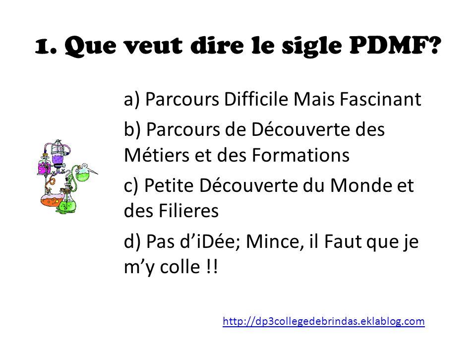 1.Que veut dire le sigle PDMF.