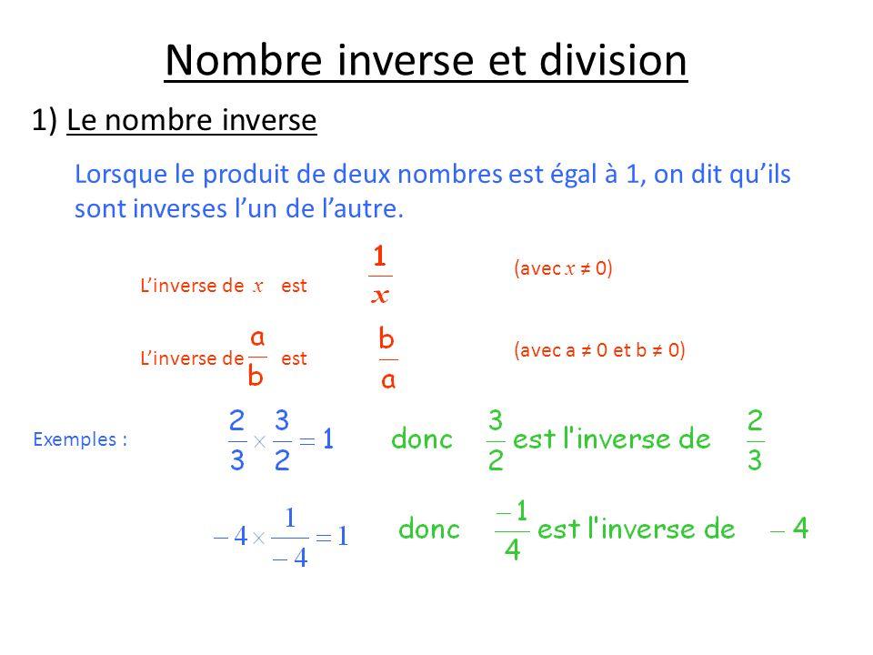 Nombre inverse et division 1) Le nombre inverse Lorsque le produit de deux nombres est égal à 1, on dit quils sont inverses lun de lautre. Linverse de