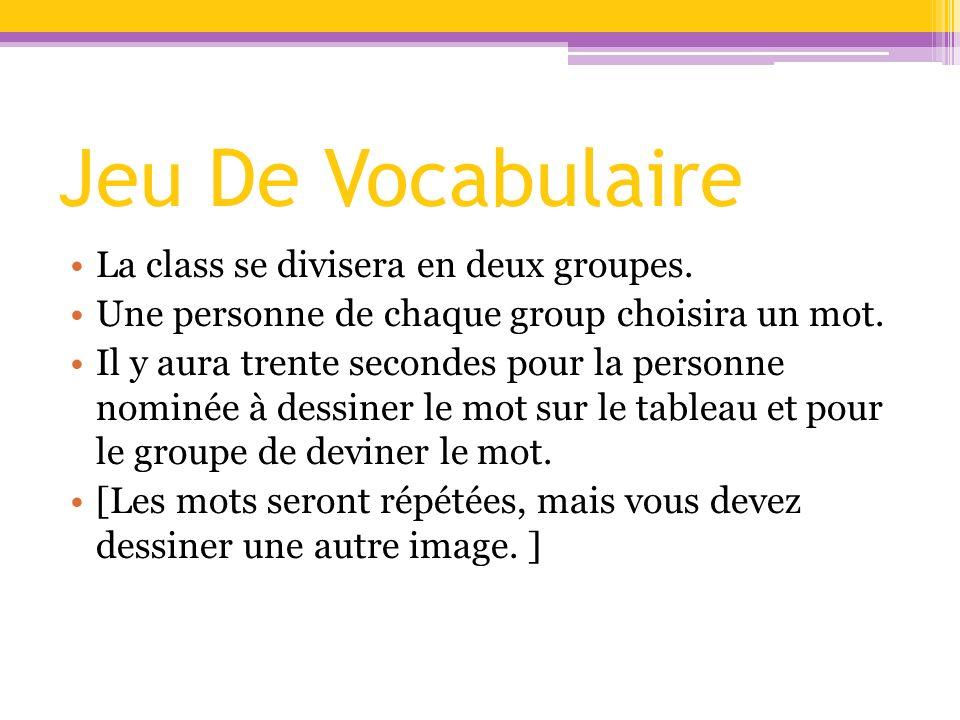 Jeu De Vocabulaire La class se divisera en deux groupes. Une personne de chaque group choisira un mot. Il y aura trente secondes pour la personne nomi