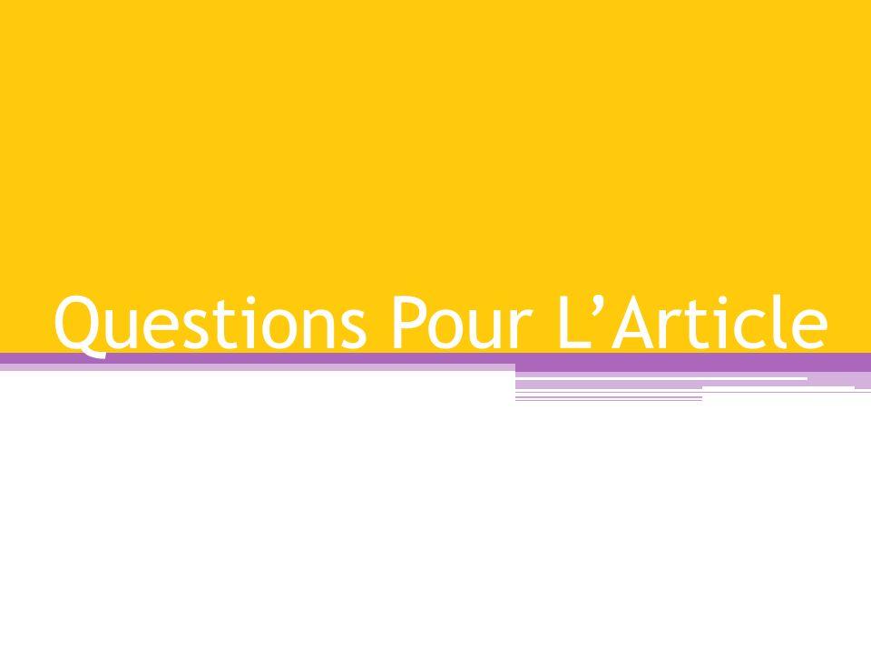 Questions Pour LArticle
