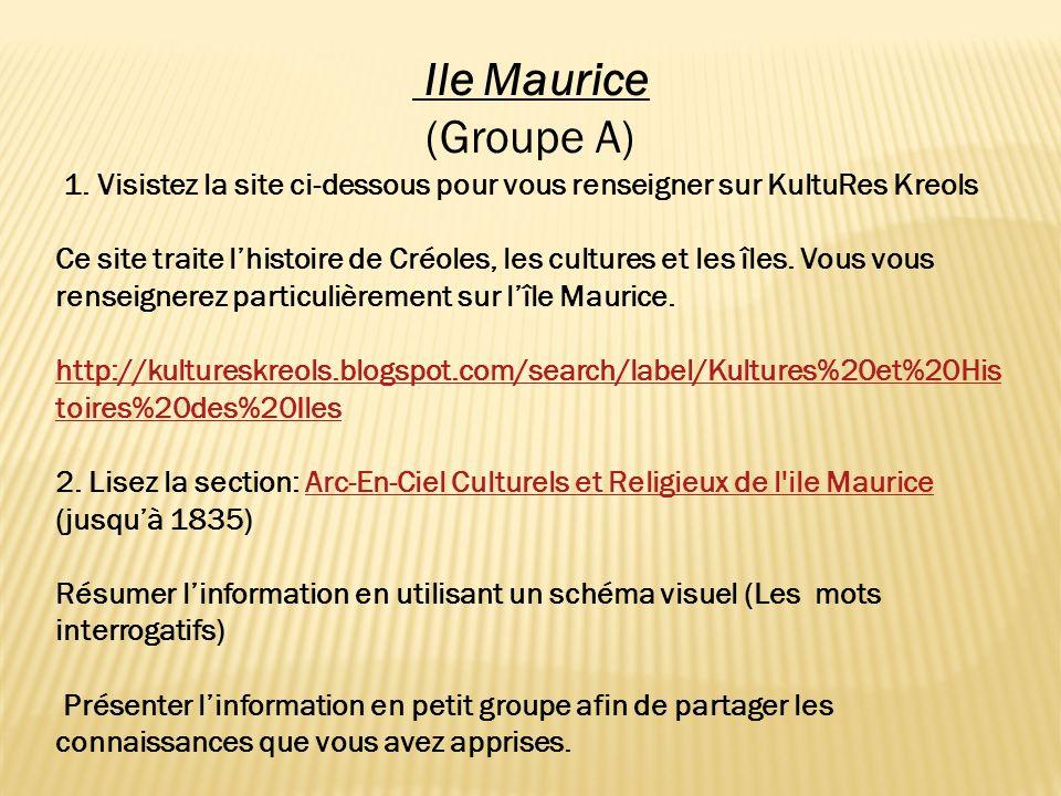 Ile Maurice (Groupe A) 1. Visistez la site ci-dessous pour vous renseigner sur KultuRes Kreols Ce site traite lhistoire de Créoles, les cultures et le