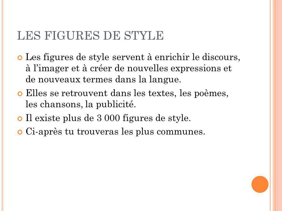 LES FIGURES DE STYLE Les figures de style servent à enrichir le discours, à limager et à créer de nouvelles expressions et de nouveaux termes dans la