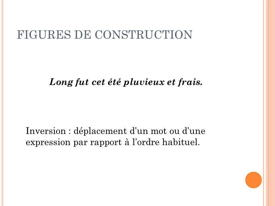 FIGURES DE CONSTRUCTION Long fut cet été pluvieux et frais. Inversion : déplacement dun mot ou dune expression par rapport à lordre habituel.