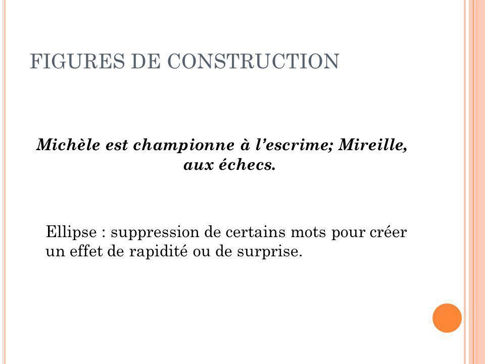 FIGURES DE CONSTRUCTION Michèle est championne à lescrime; Mireille, aux échecs. Ellipse : suppression de certains mots pour créer un effet de rapidit