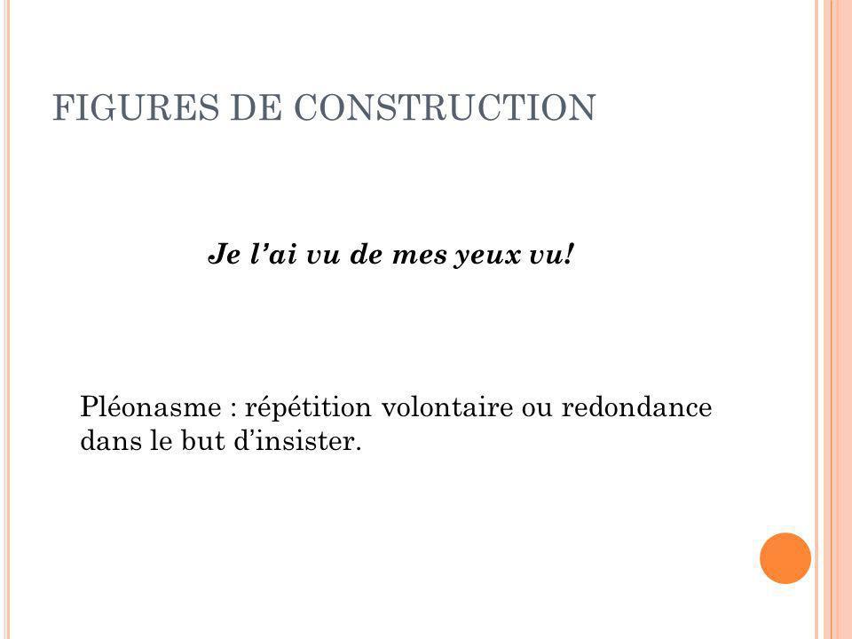 FIGURES DE CONSTRUCTION Je lai vu de mes yeux vu! Pléonasme : répétition volontaire ou redondance dans le but dinsister.