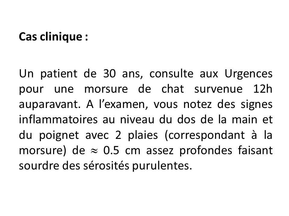 Cas clinique : Un patient de 30 ans, consulte aux Urgences pour une morsure de chat survenue 12h auparavant. A lexamen, vous notez des signes inflamma