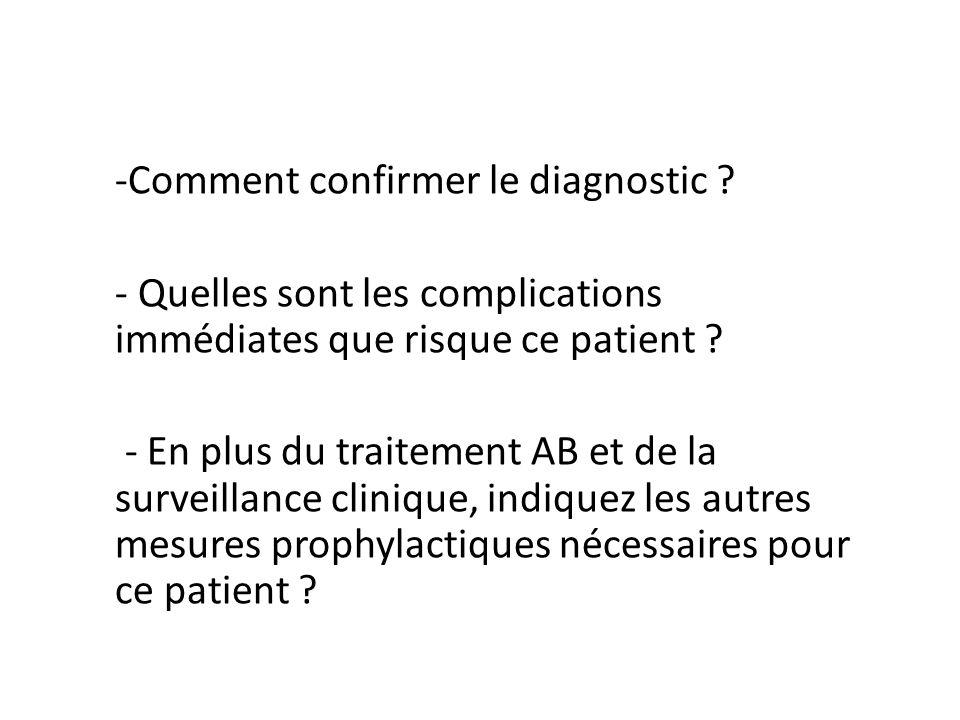 -Comment confirmer le diagnostic ? - Quelles sont les complications immédiates que risque ce patient ? - En plus du traitement AB et de la surveillanc