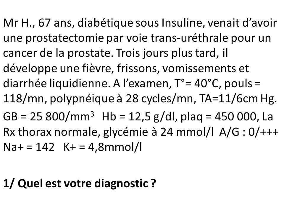 Mr H., 67 ans, diabétique sous Insuline, venait davoir une prostatectomie par voie trans-uréthrale pour un cancer de la prostate. Trois jours plus tar