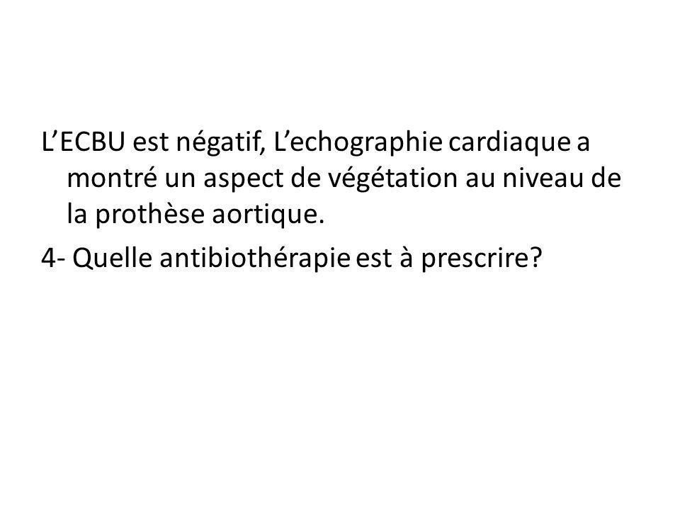 LECBU est négatif, Lechographie cardiaque a montré un aspect de végétation au niveau de la prothèse aortique. 4- Quelle antibiothérapie est à prescrir