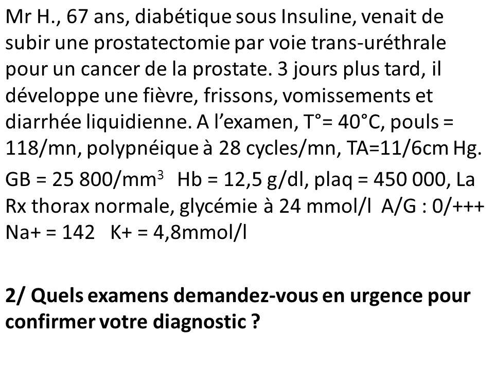 Mr H., 67 ans, diabétique sous Insuline, venait de subir une prostatectomie par voie trans-uréthrale pour un cancer de la prostate.