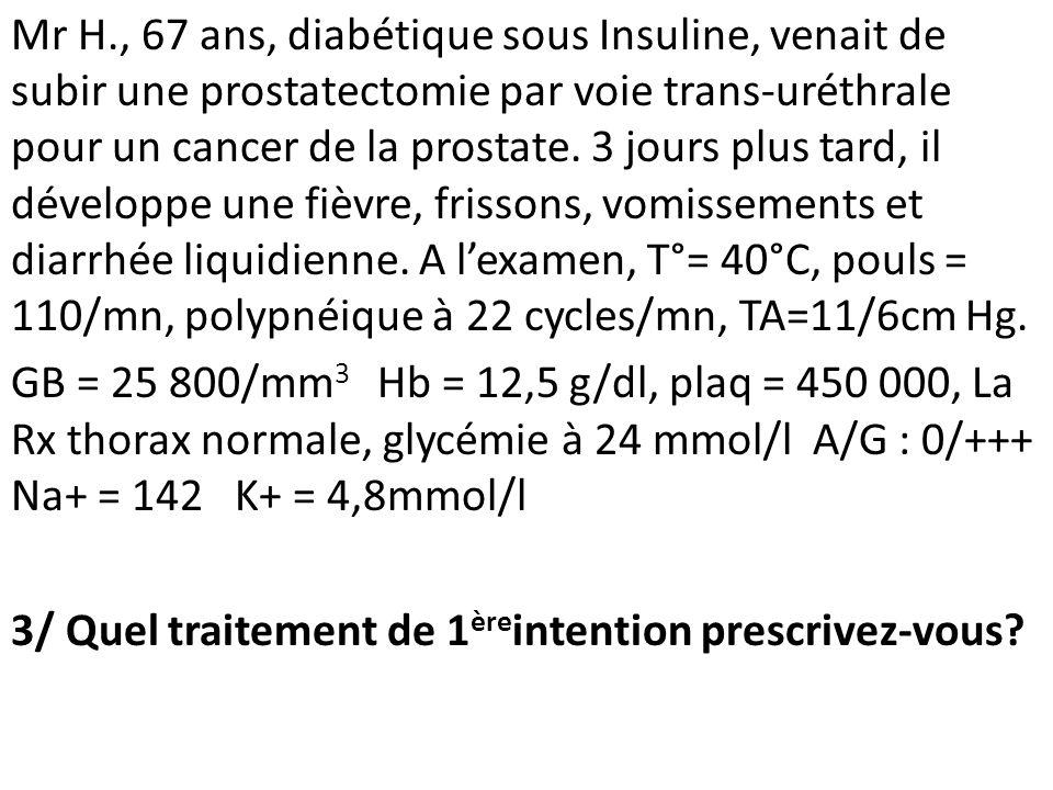 Mr H., 67 ans, diabétique sous Insuline, venait de subir une prostatectomie par voie trans-uréthrale pour un cancer de la prostate. 3 jours plus tard,