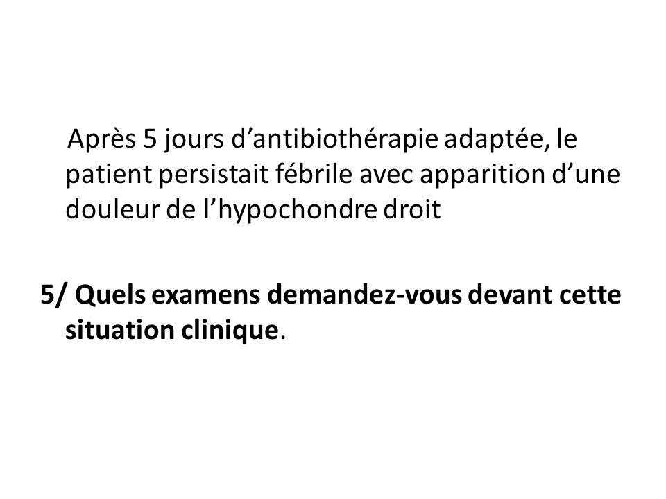 Après 5 jours dantibiothérapie adaptée, le patient persistait fébrile avec apparition dune douleur de lhypochondre droit 5/ Quels examens demandez-vou