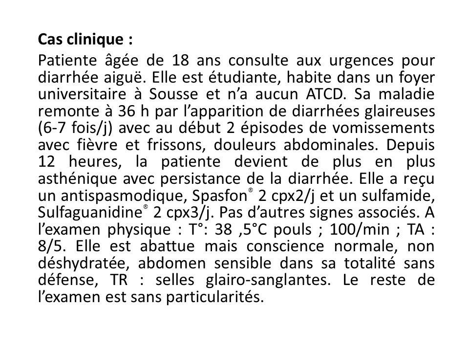 Cas clinique : Patiente âgée de 18 ans consulte aux urgences pour diarrhée aiguë. Elle est étudiante, habite dans un foyer universitaire à Sousse et n