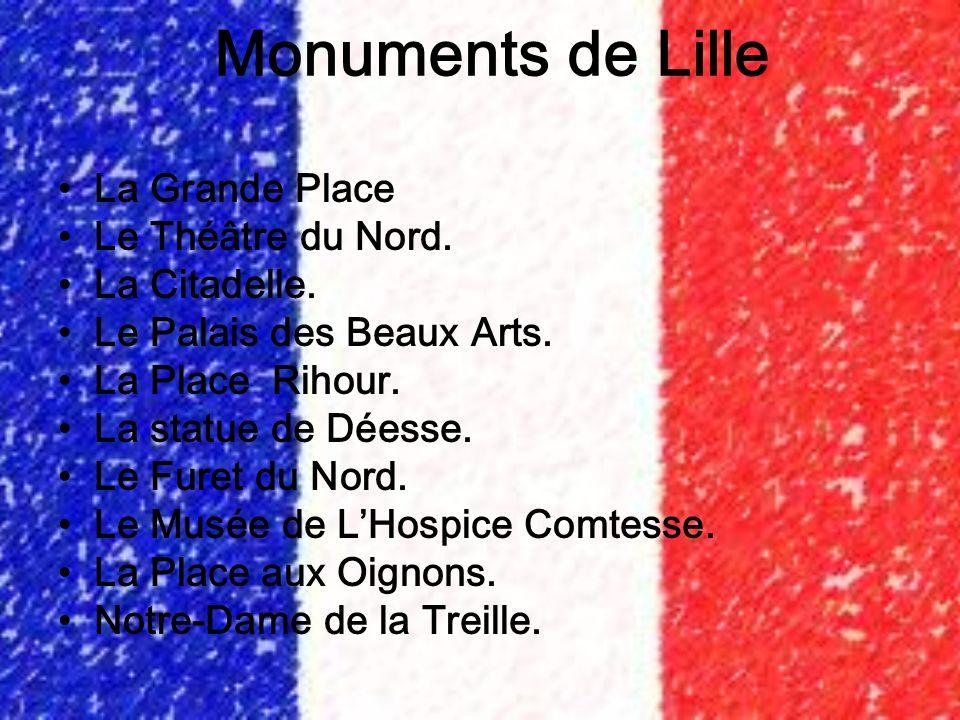 Monuments de Lille La Grande Place Le Théâtre du Nord. La Citadelle. Le Palais des Beaux Arts. La Place Rihour. La statue de Déesse. Le Furet du Nord.