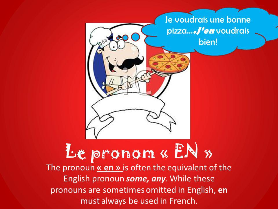 Le pronom « EN » The pronoun « en » is often the equivalent of the English pronoun some, any. While these pronouns are sometimes omitted in English, e