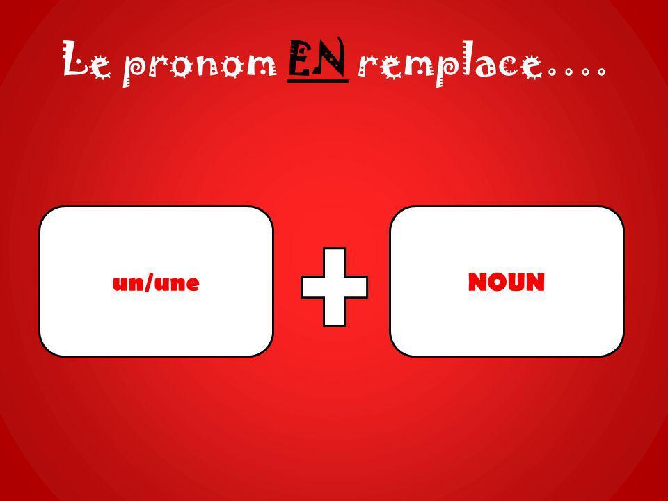 Le pronom EN remplace…. un/uneNOUN