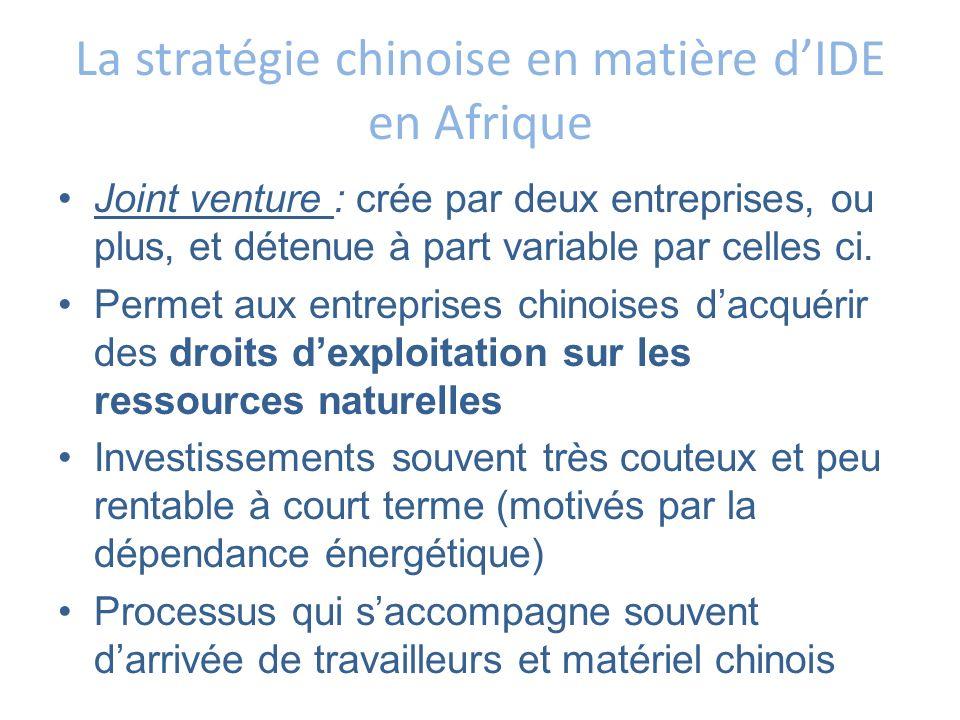 La stratégie chinoise en matière dIDE en Afrique Joint venture : crée par deux entreprises, ou plus, et détenue à part variable par celles ci. Permet