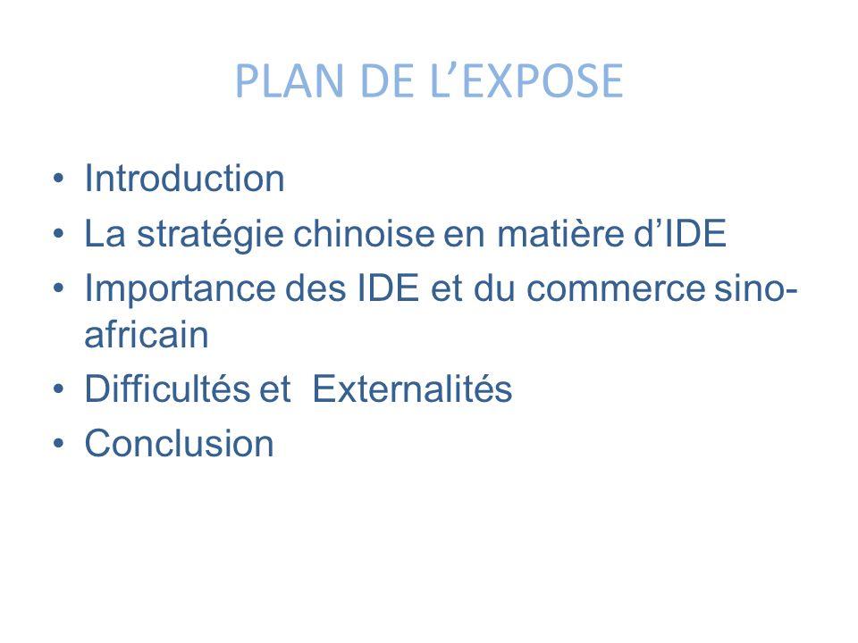 PLAN DE LEXPOSE Introduction La stratégie chinoise en matière dIDE Importance des IDE et du commerce sino- africain Difficultés et Externalités Conclu