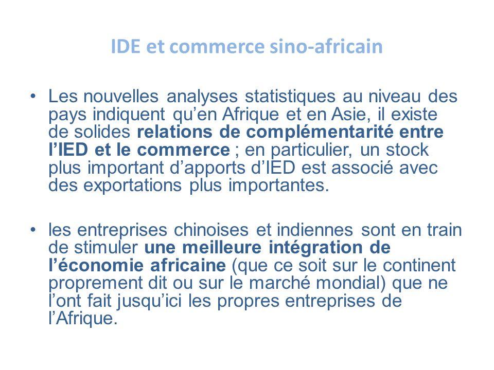 IDE et commerce sino-africain Les nouvelles analyses statistiques au niveau des pays indiquent quen Afrique et en Asie, il existe de solides relations