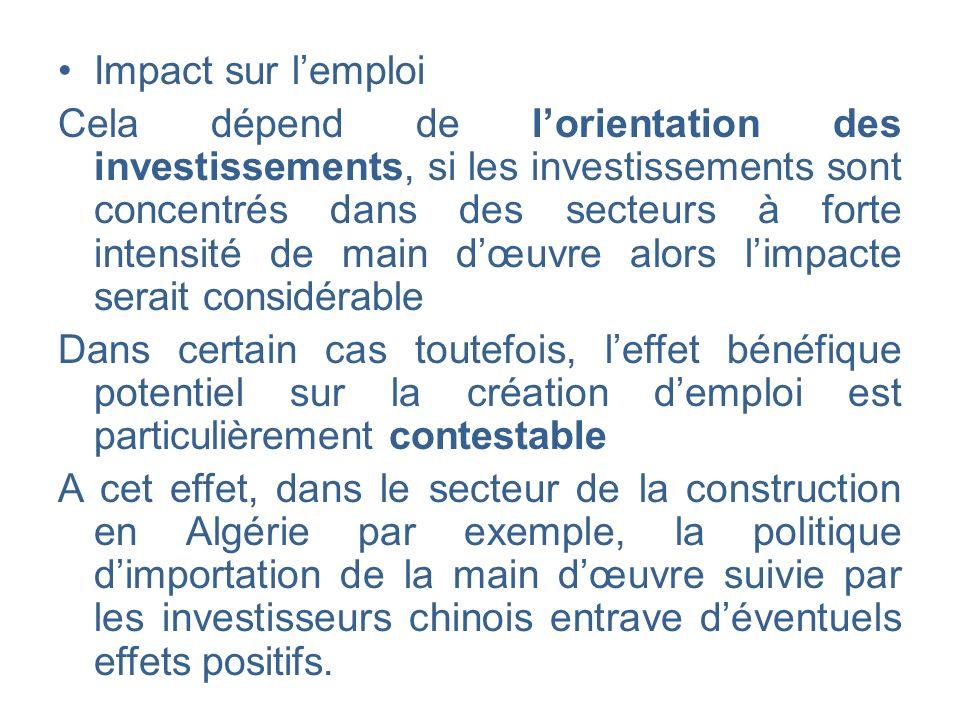 Impact sur lemploi Cela dépend de lorientation des investissements, si les investissements sont concentrés dans des secteurs à forte intensité de main