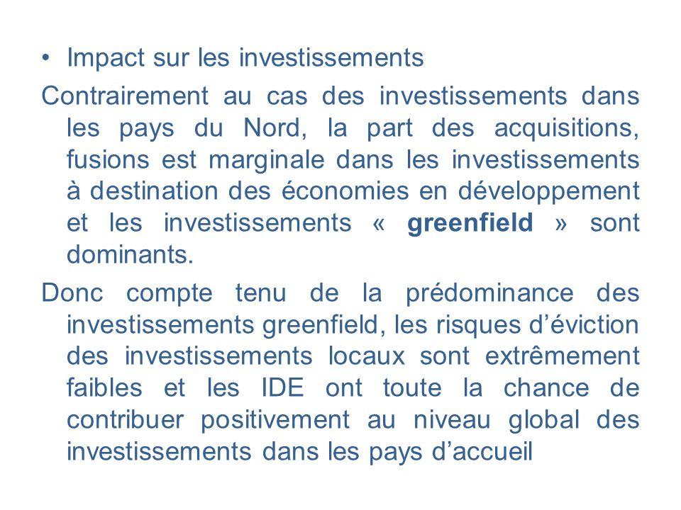 Impact sur les investissements Contrairement au cas des investissements dans les pays du Nord, la part des acquisitions, fusions est marginale dans le