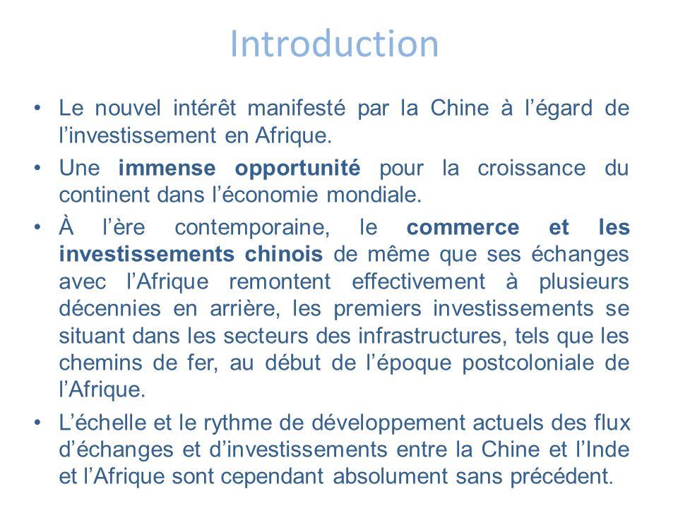 Introduction Le nouvel intérêt manifesté par la Chine à légard de linvestissement en Afrique. Une immense opportunité pour la croissance du continent