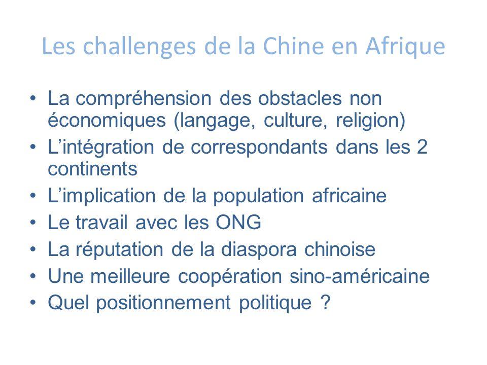Les challenges de la Chine en Afrique La compréhension des obstacles non économiques (langage, culture, religion) Lintégration de correspondants dans
