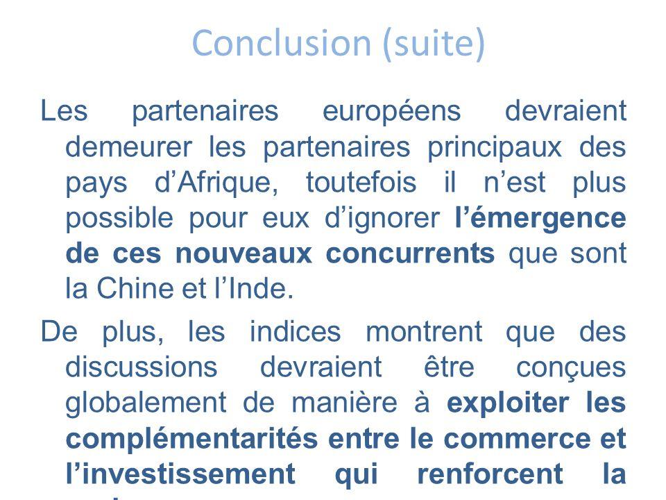 Conclusion (suite) Les partenaires européens devraient demeurer les partenaires principaux des pays dAfrique, toutefois il nest plus possible pour eux