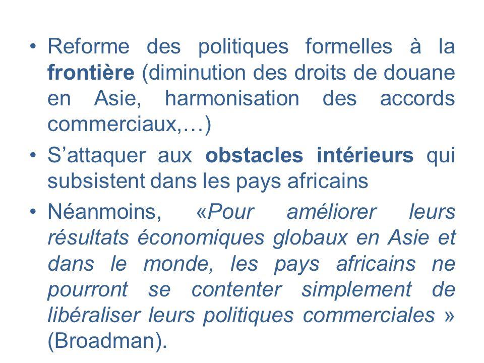 Reforme des politiques formelles à la frontière (diminution des droits de douane en Asie, harmonisation des accords commerciaux,…) Sattaquer aux obsta