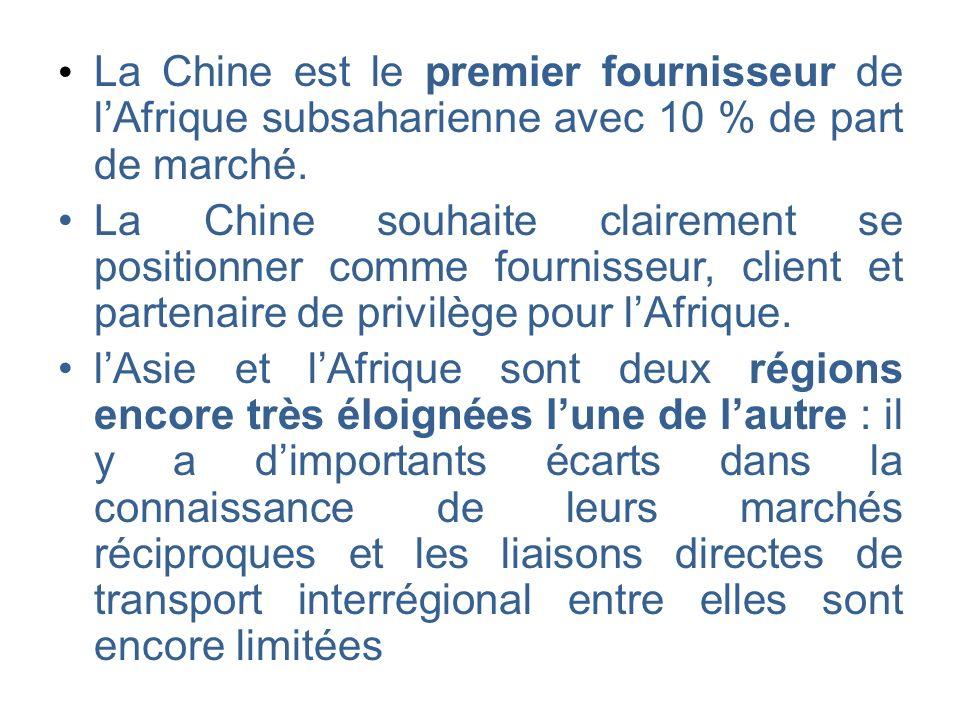 La Chine est le premier fournisseur de lAfrique subsaharienne avec 10 % de part de marché. La Chine souhaite clairement se positionner comme fournisse