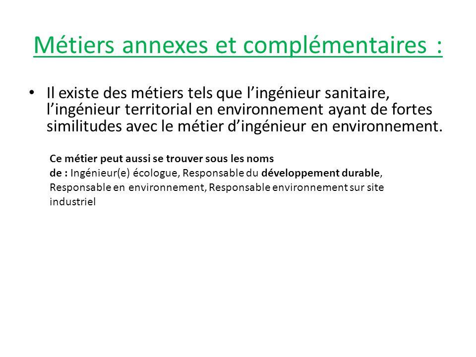 Métiers annexes et complémentaires : Il existe des métiers tels que lingénieur sanitaire, lingénieur territorial en environnement ayant de fortes simi