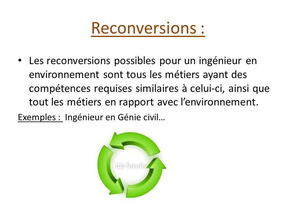 Reconversions : Les reconversions possibles pour un ingénieur en environnement sont tous les métiers ayant des compétences requises similaires à celui