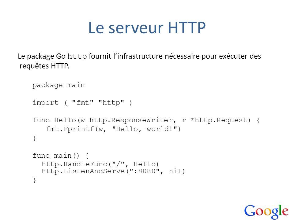 Le serveur HTTP Le package Go http fournit linfrastructure nécessaire pour exécuter des requêtes HTTP. package main import (