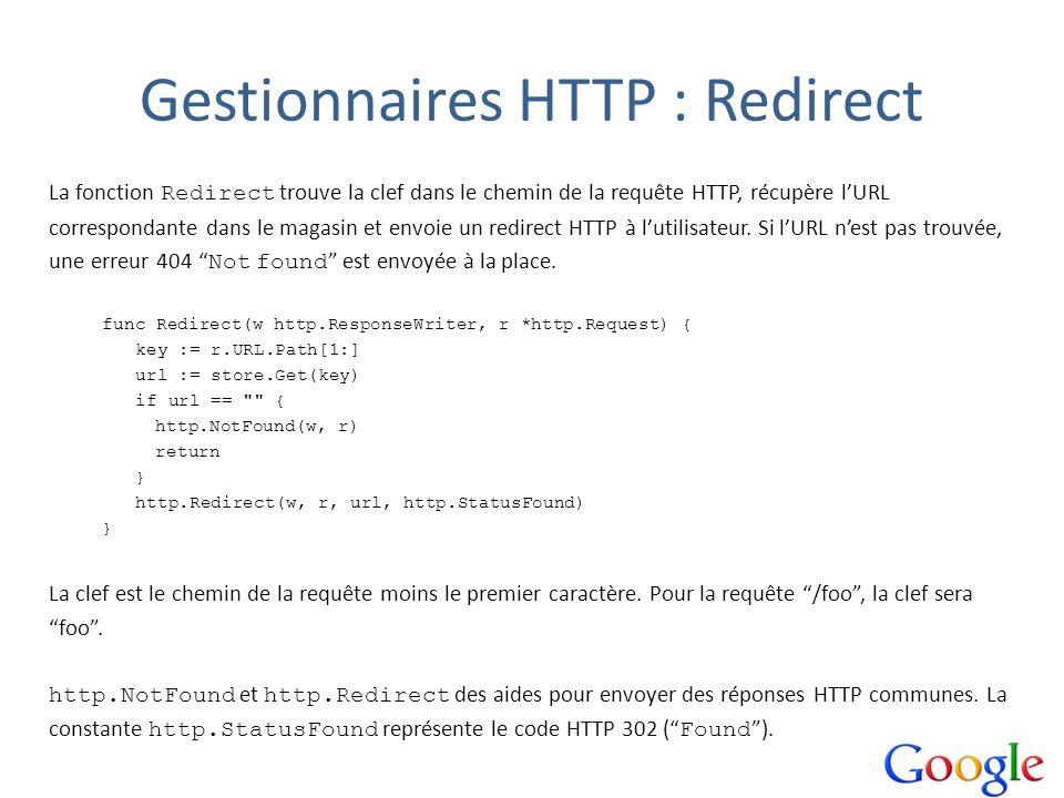 Gestionnaires HTTP : Redirect La fonction Redirect trouve la clef dans le chemin de la requête HTTP, récupère lURL correspondante dans le magasin et e