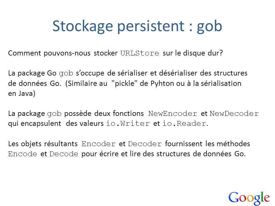 Stockage persistent : gob Comment pouvons-nous stocker URLStore sur le disque dur? La package Go gob soccupe de sérialiser et désérialiser des structu