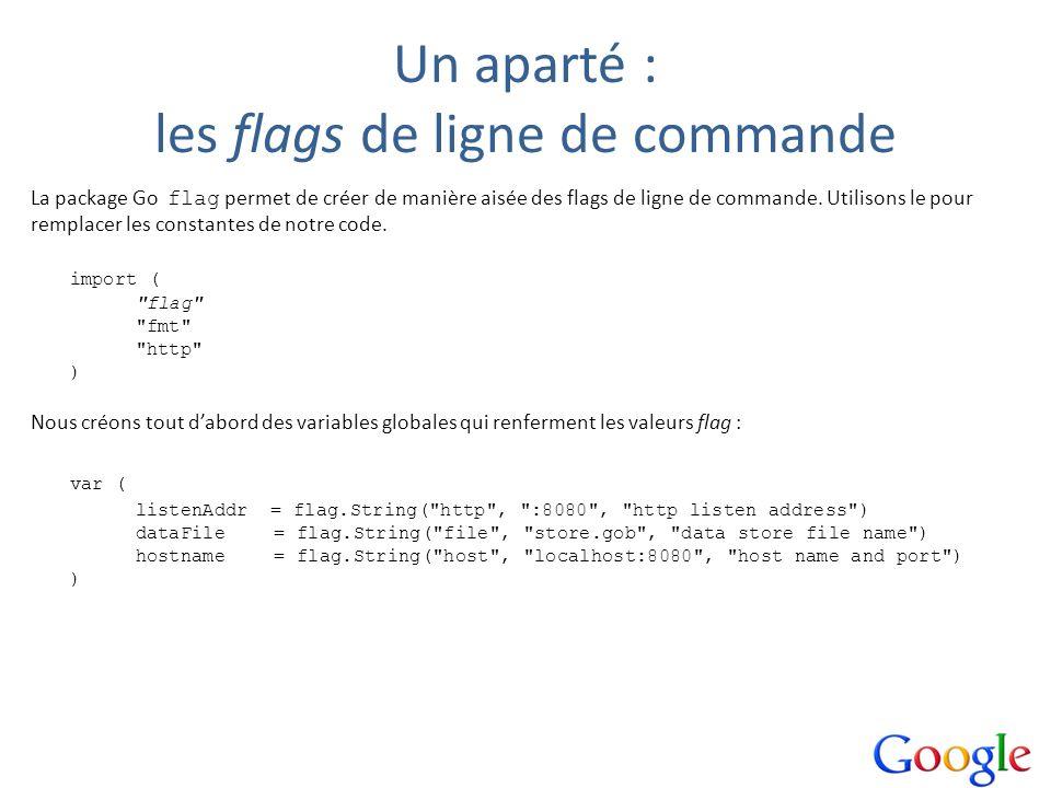 Un aparté : les flags de ligne de commande La package Go flag permet de créer de manière aisée des flags de ligne de commande. Utilisons le pour rempl