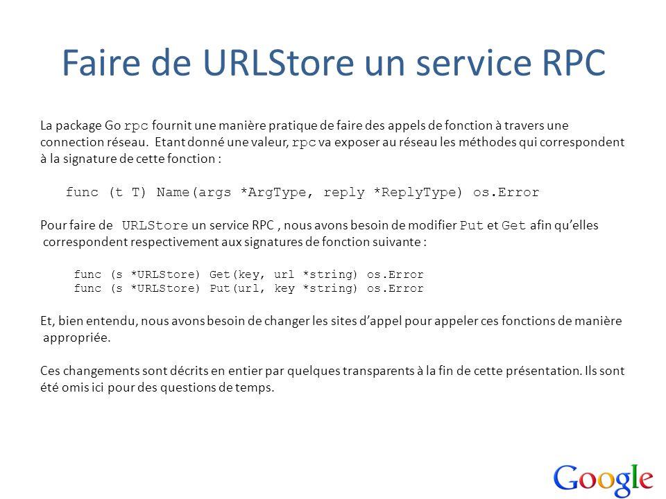 Faire de URLStore un service RPC La package Go rpc fournit une manière pratique de faire des appels de fonction à travers une connection réseau. Etant