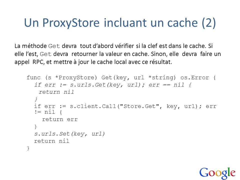 Un ProxyStore incluant un cache (2) La méthode Get devra tout dabord vérifier si la clef est dans le cache. Si elle lest, Get devra retourner la valeu