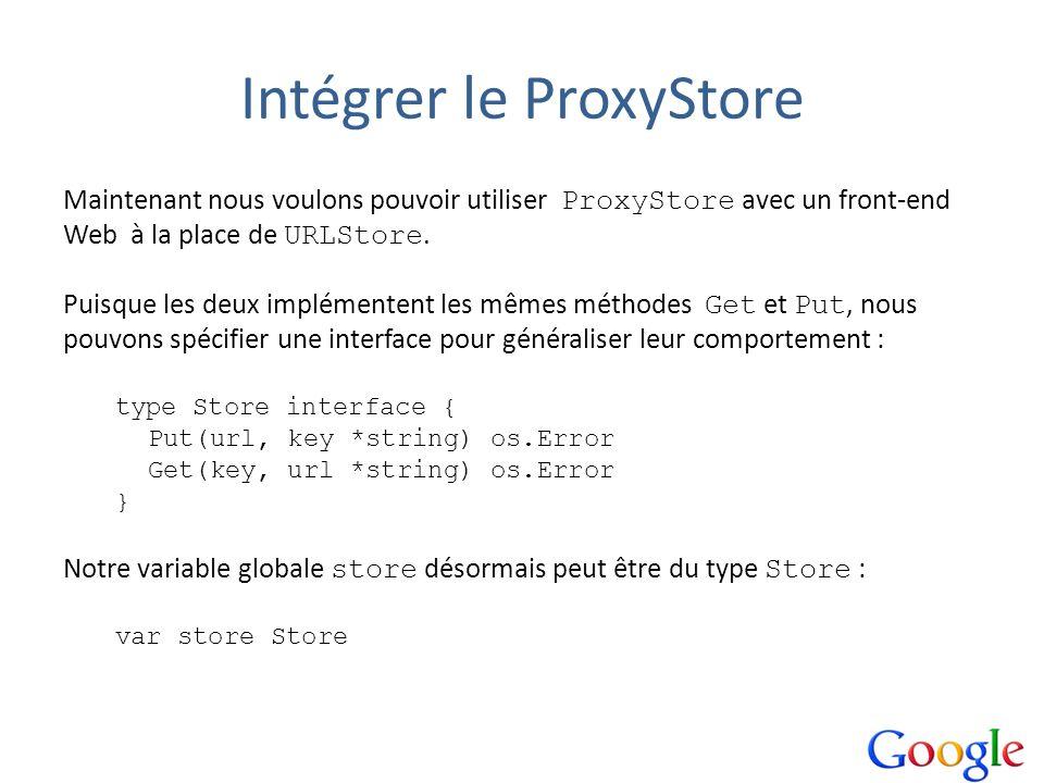 Intégrer le ProxyStore Maintenant nous voulons pouvoir utiliser ProxyStore avec un front-end Web à la place de URLStore. Puisque les deux implémentent