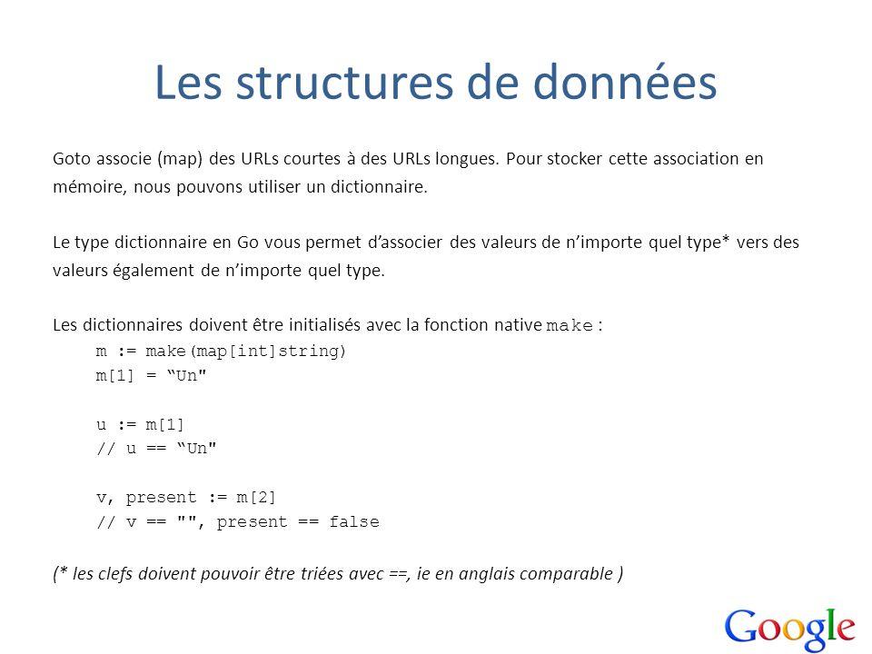 Les structures de données Goto associe (map) des URLs courtes à des URLs longues. Pour stocker cette association en mémoire, nous pouvons utiliser un