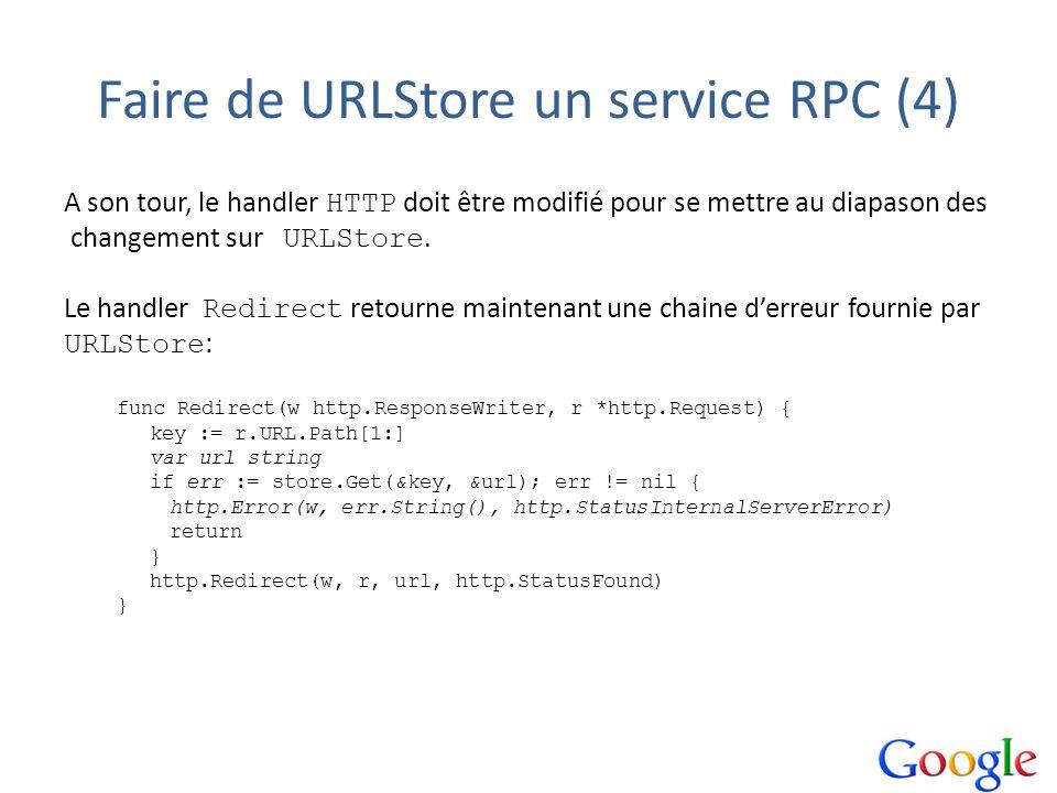 Faire de URLStore un service RPC (4) A son tour, le handler HTTP doit être modifié pour se mettre au diapason des changement sur URLStore. Le handler