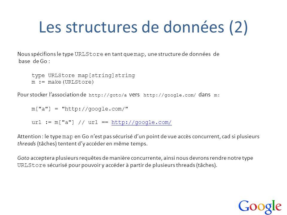 Les structures de données (2) Nous spécifions le type URLStore en tant que map, une structure de données de base de Go : type URLStore map[string]stri