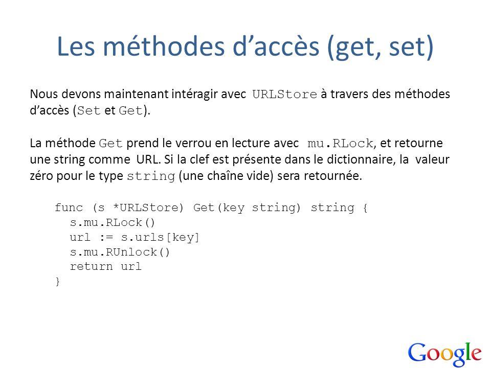 Les méthodes daccès (get, set) Nous devons maintenant intéragir avec URLStore à travers des méthodes daccès ( Set et Get ). La méthode Get prend le ve