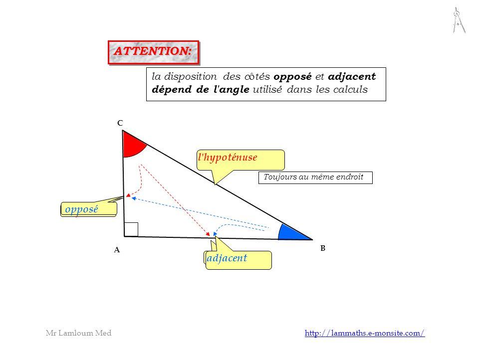 opposé l'hypoténuse adjacent B A C la disposition des c ô tés opposé et adjacent dépend de l'angle utilisé dans les calculs opposé adjacent ATTENTION: