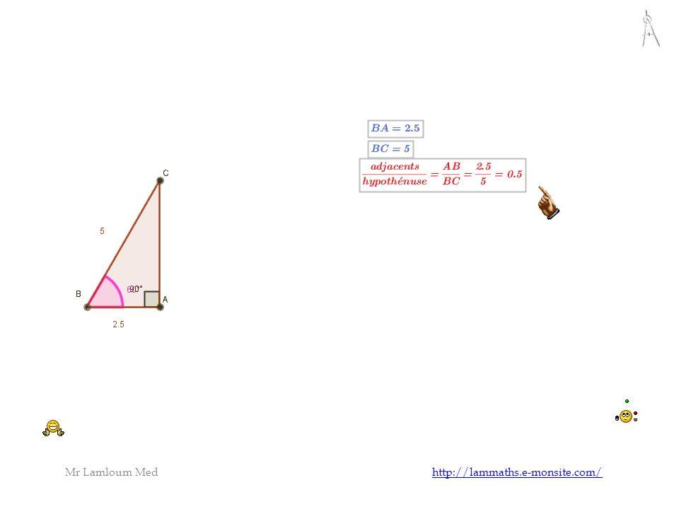 On remarque que dans un triangle rectangle,le rapport ne dépend pas de la longueur des côtés mais il dépend de la mesure de langle Activité avec geogebra Logiciel danimation géometrique Cosinus Mr Lamloum Med http://lammaths.e-monsite.com/http://lammaths.e-monsite.com/
