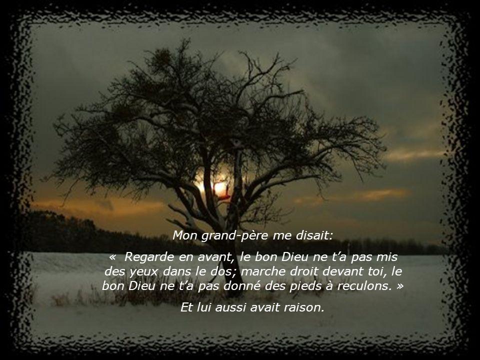 Mon grand-père me disait: « Regarde en avant, le bon Dieu ne ta pas mis des yeux dans le dos; marche droit devant toi, le bon Dieu ne ta pas donné des pieds à reculons.