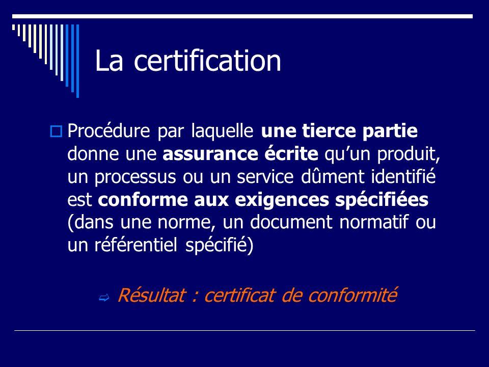 La certification Procédure par laquelle une tierce partie donne une assurance écrite quun produit, un processus ou un service dûment identifié est con