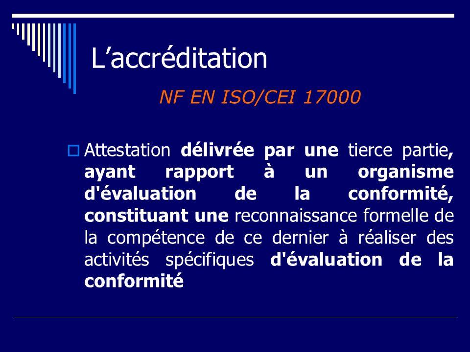 Laccréditation NF EN ISO/CEI 17000 Attestation délivrée par une tierce partie, ayant rapport à un organisme d'évaluation de la conformité, constituant