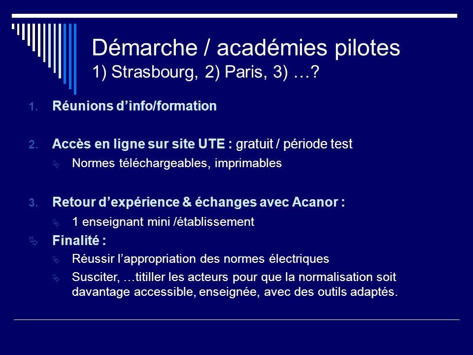 Démarche / académies pilotes 1) Strasbourg, 2) Paris, 3) …? 1. Réunions dinfo/formation 2. Accès en ligne sur site UTE : gratuit / période test Normes