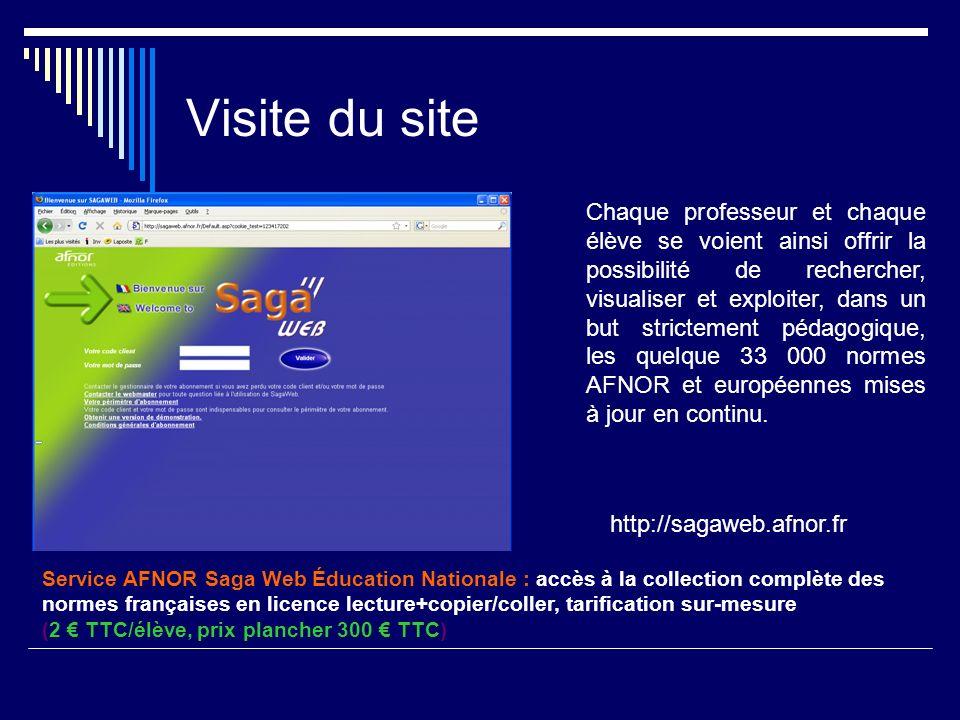 Service AFNOR Saga Web Éducation Nationale : accès à la collection complète des normes françaises en licence lecture+copier/coller, tarification sur-m